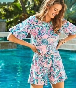 Lilly Pulitzer Britton Romper Pink Tropic Unlined Stretch Rayon Knit S;NWT$138