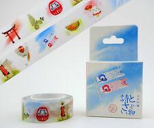 Japanese washi tape! Maneki neko lucky cat, Mt. Fuji, Daruma doll, Geisha, Torii