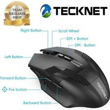 TECKNET RAPTOR, Mouse da Gioco Wireless,  Prime 2.4G Gaming 4800 dpi, 8 Pulsanti