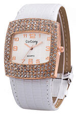 Gogoey Women's Square Rhinestones Faux Leather Wrist Watch I9a7 D3p6