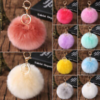 Furry Pom Pom Ball Key Chain Ring Keyring Keychain Women Bag Pendant Decorative