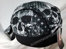 American Flag & Skull Gray Design Premium Headwrap Biker Doo Rag Cap #1090