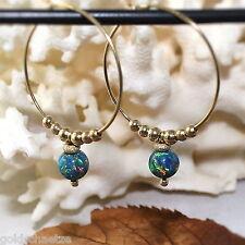 Black Opal Creolen – 925 Silber vergoldet – Ohrringe  synth. Opal grün blau rot