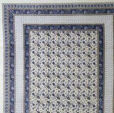 Handmade 100% Cotton Floral Tapestry Throw Tablecloth Bedspread Blue Twin 72x106