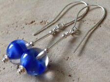 Vintage Round Clear & Blue GIVRE Satin Glass Sterling Silver Earrings