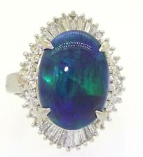 Heavy Platinum 6.56CTW diamond/16.4 X 11.6mm Black opal cocktail ring size 5.75