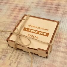 Personalised Gift Box Anniversary LOVE HEARTS - Her/Him Handmade VINTAGE RUSTIC