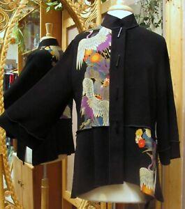 Moonlight Bouclé Jacket 3/4 Sleeve Purple Crane Button Up USA Made Machine wash