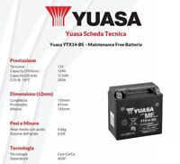 BATTERIA MOTO YUASA YTX14-BS 12V 12AH Buell Ulysses XB12X - 1200 cc 2006>