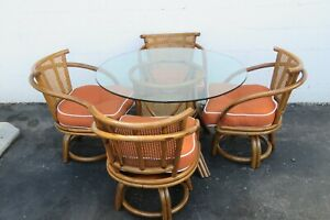 Hollywood Regency Bamboo Rattan Round Dinette Table and Four Swivel Chairs 2273