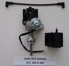DODGE  413, 426 & 440 BLACK Small Female Cap HEI Distributor + 50K Volt Coil NEW