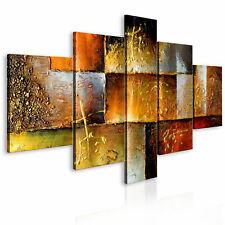 100% Handgemalt – Gemälde / Bilder Leinwand 5 Teile Gold 160x93 92340_MK