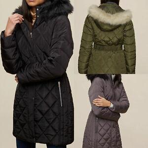 DP Ladies Womens Black Winter Long Line Fur Padded Jacket Coat Size 10 12 14 16