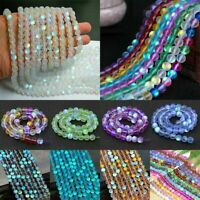 Wholesale Mystic Aura Quartz Gemstone Loose 6mm Beads Holographic Matte Bracelet