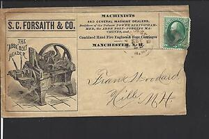MANCHESTER, NEW HAMPSHIRE 1879 BANKNOTE COVER,ADVT S.C. FORSAITH & CO.MACHINISTS