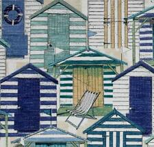Outdoor/ Indoor ~Upholstery~ Beach Huts ~ Blues & Greens ~ Fabric ~ per 1/4 yard