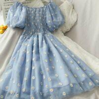 Lady Off Shoulder Dress Floral Daisy Ruffle Mesh Lolita Puff Sleeves Midi Summer