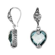 Blue Topaz Sterling Silver Heart Shape Dangle Earrings Love Valentines Day Gift