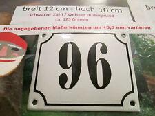Hausnummer Emaille Nr. 96 schwarze Zahl auf weißem Hintergrund 12 cm x 10 cm