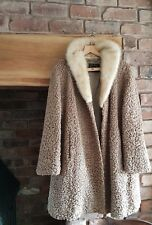 Ladies vintage astrakhan coat beige colour with mink collar