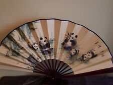 13 inches silk Panda Bear fan with Chinese Writing US seller fast shipping