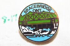 "CANADA BRACEBRIDGE ONTARIO SILVERTONE 3/4"" METAL SOUVENIR LAPEL PIN"