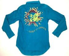 Raw7 Mens Shirt Size L Blue Embroidered Button Distressed Sun Here It Comes
