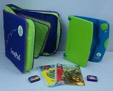 LeapFrog LeapPad Lot in Green/Blue, Large Case 2 Books = Madagascar & Phonics 4