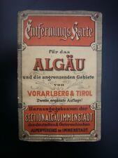 Landkarte (Entfernungskarte) für das Algäu - um 1890 - vom Alpenverein