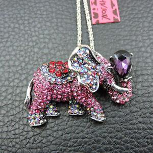 Charm Pink Crystal Rhinestone Elephant Betsey Johnson Pendant Necklace/Brooch