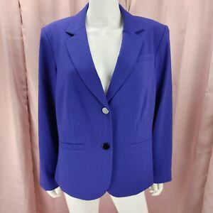 Calvin Klein Women's Blue Lined Long Sleeve Blazer Jacket Size 16W