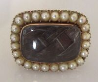 Antique 15ct Gold Pearl Set Mourning Oblong Brooch (Inlaid with hair)