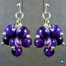♥ Delicate Purple Striated Agate Plated Silver Cluster Earrings