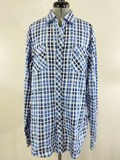 Age Of Wisdom Mens Shirt Pearl Snap Long Sleeve Western Button Up Blue Plaid B3