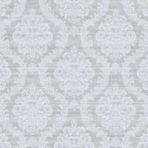 Wallpaper Designer White Beige Textured Damask on Shiny Platinum Faux