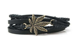 Marihuana Leaf Fashion Style Jewelry Cute Leather Charm Bracelet Bangle DIM141