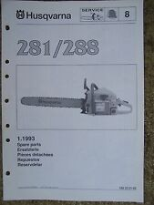 1993 Husqvarna 281 288 Chain Saw Spare Parts List LOTS MORE IN OUR STORE  V