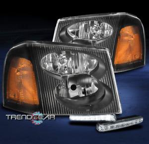 FOR 2002-2009 GMC ENVOY XL XUV REPLACEMENT BLACK HEADLIGHT HEADLAMP+LED DRL KIT
