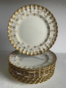 "12pc Lot FLEUR DE LYS Gold SPODE Bone China SALAD PLATES Gold Trim 8"" MINT"