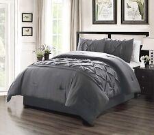 Solid DARK Grey -Needle Goose Down Pinch Pleat CAL King Comforter Set Bedding
