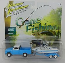 2017 Johnny Lightning *GONE FISHING 1A* Blue 1965 Chevy Pickup w/BOAT & TRAILER