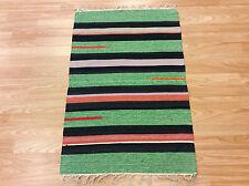 Striped Green Black Multi Handloomed 100% Cotton Rag RUG Durrie 60x90cm 50%OFF