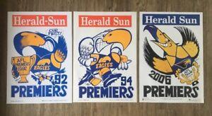 1992, 1994, 2006 West Coast Eagles Premiers Posters Original WEG MINT CONDITION!