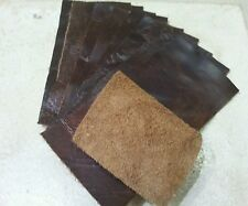 Brown Vintage Aged 100% leather 15cm x 7.5cm offcuts 10 pieces 1.1mm Craft Patch