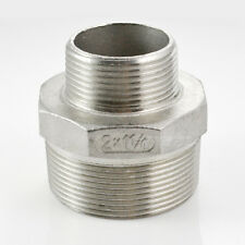 """2""""x1-1/4"""" Male Hex Nipple Threaded Reducer Pipe Fitting Stainless Steel 304 BSPT"""