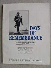 DAYS OF REMEMBRANCE Department Of Defense Guide Annual Commemorative Observances