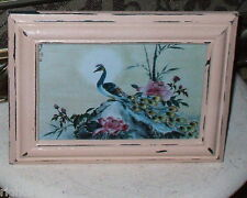 SHABBY WOOD 5X7  FRAME CHIC PEACOCK PINK ROSE PRINT FRENCH COTTAGE DECOR