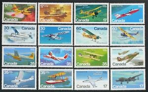 CANADA #843/972 Airplanes, Aircraft, Sea Planes complete set of 16 mint NH