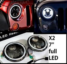 Coppia Fari LED JEEP WRANGLER JK TJ LJ Headlights NERO 7'' ANGEL EYES H4 OMOLOGA