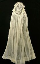 "Antique / Vintage Tulle Ivory Wedding Veil 31"" Long 1910's 1920's Ribbon Flowers"